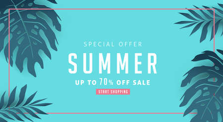 Summer sale background layout banners decorate with paper art tropical leaf.voucher discount.Vector illustration template. Illustration