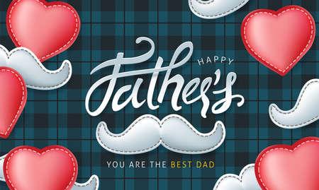 快乐Father's日书法贺卡背景。矢量插图。