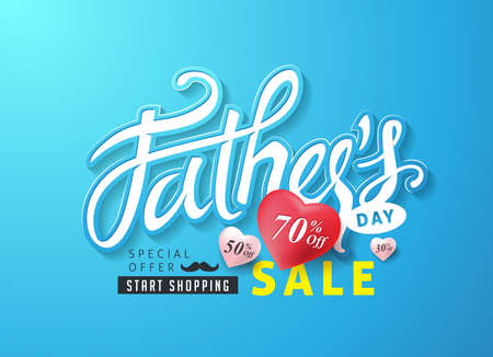 Happy Fathers Day Calligraphy greeting card and sale poster background. Vector illustration.felt fabric design. Illustration