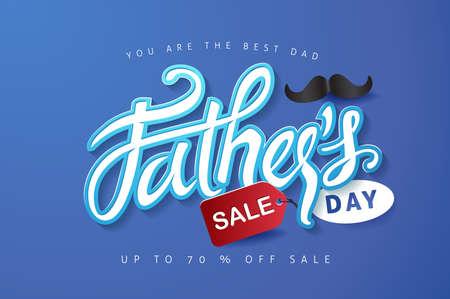 父亲节快乐,书法贺卡和销售海报背景。矢量插图。