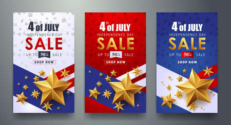 USA independence day sale promotion advertising banner template.4th of July celebration poster template.voucher discount.Vector illustration .  イラスト・ベクター素材