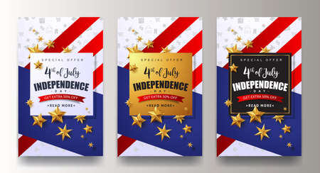 USA independence day sale promotion advertising banner template.4th of July celebration poster template.voucher discount.Vector illustration . Иллюстрация
