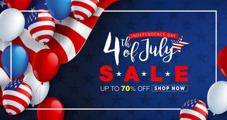 Onafhankelijkheidsdag VS verkoop promotie reclame banner sjabloon amerikaanse ballonnen vlag decor. 4 juli viering poster sjabloon. Voucher korting. Vectorillustratie. Stockfoto - 103819854