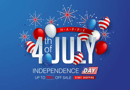 Independence day USA sale promotion advertising banner template american balloons flag and Colorful Fireworks decor.4th of July celebration poster template.fourth of july voucher discount.Vector illustration . Illustration