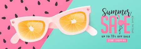 Summer sale bright Color background layout banners .Orange sunglasses concept.voucher discount.Vector illustration template. Иллюстрация