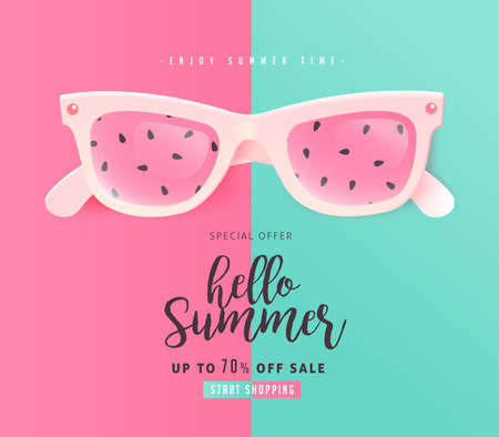 Summer sale bright Color background layout banners .Watermelon sunglasses concept.voucher discount.Vector illustration template.