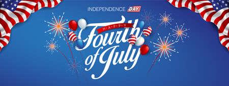 Día de la independencia plantilla de banner de Estados Unidos bandera de globos americanos y decoración colorida de fuegos artificiales. Plantilla de cartel de celebración de 4 de julio.
