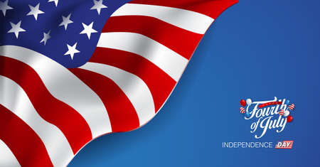Independence day USA banner template american balloons flag decor.4th of July celebration poster template.voucher discount.Vector illustration . Çizim