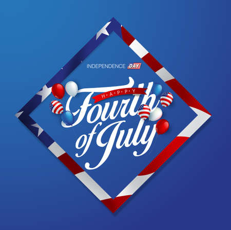 Independence day USA sale promotion banner template american balloons flag decor.4th of July celebration poster template.fourth of july voucher discount.Vector illustration .