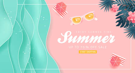 Summer sale design with paper cut tropical beach bright Color background layout banners .Orange sunglasses concept.voucher discount.Vector illustration template. Vettoriali