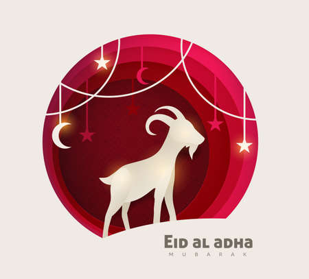 Eid Al Adha Mubarak the celebration of Muslim community festival background design with goat and star paper cut style.Vector Illustration