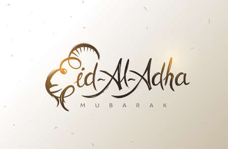 Eid Al Adha Calligraphy Text with goat illustration for eid Mubarak Celebration Background. Vector Illustration