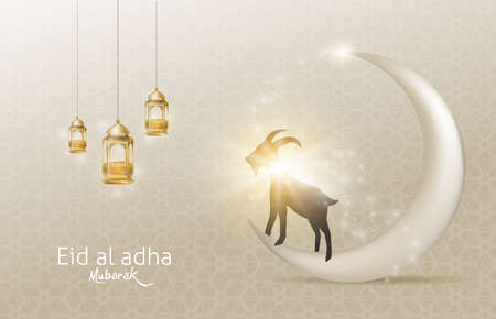Eid Al Adha Mubarak the celebration of Muslim community festival background design with goat and moon.Vector Illustration 일러스트