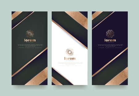 Vector set verpakking sjablonen luxe of premium producten. Logo ontwerp met trendy lineaire stijl. Voucher korting flyer brochure. Boekomslag vectorillustratie. Wenskaart achtergrond.
