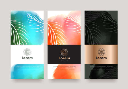 Vector set packaging templates nature luxury or premium products.logo design with trendy linear style.voucher discount flyer brochure.book cover vector illustration.greeting card background.