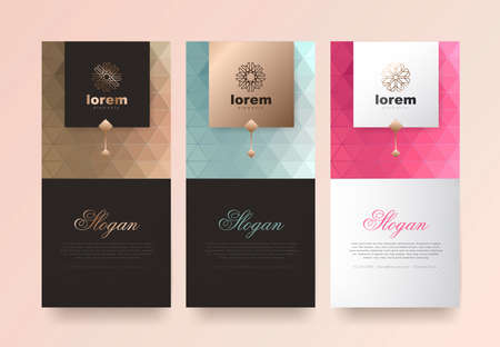 Vector set packaging templates nature luxury or premium products.logo design with trendy linear style.voucher discount flyer brochure.book cover vector illustration.greeting card background. Standard-Bild - 104535410
