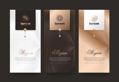 Vector set verpakking sjablonen natuur luxe of premium producten. Logo ontwerp met trendy lineaire stijl. Voucher korting, flyer, brochure. Boekomslag vectorillustratie. Wenskaart achtergrond.