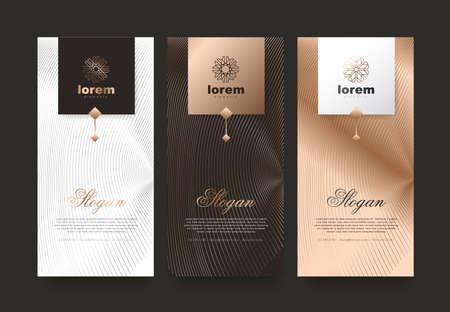 Vektorsatzverpackungsschablonen Naturluxus- oder Premiumprodukte. Logodesign mit trendigem linearem Stil. Gutscheinrabatt, Flyer, Broschüre. Buchumschlagvektorillustration. Grußkartenhintergrund.