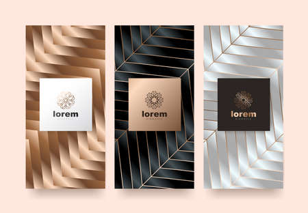Vector set packaging templates nature luxury or premium products.logo design with trendy linear style.voucher discount, flyer, brochure.book cover vector illustration.greeting card background.