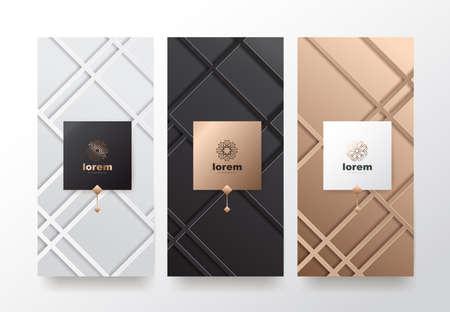 Insieme di vettore modelli di imballaggio natura lusso o prodotti premium. Design del logo con stile lineare alla moda.Sconto del buono, flyer, illustrazione vettoriale di copertina del libro brochure.greeting card background