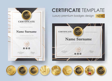 certificate template with modern pattern,diploma,Vector illustration and vector Luxury premium badges design,Set of retro vintage badges and labels. Иллюстрация