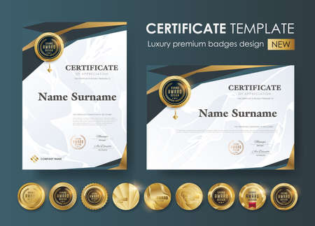certificate template with modern pattern,diploma,Vector illustration and vector Luxury premium badges design,Set of retro vintage badges and labels. 向量圖像