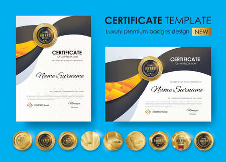 certificate template with modern pattern,diploma,Vector illustration and vector Luxury premium badges design,Set of retro vintage badges and labels. Illusztráció