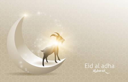 Eid Al Adha Mubarak die Feier des Hintergrunddesigns des muslimischen Gemeinschaftsfestivals mit Ziege und Mond. Vektorillustration