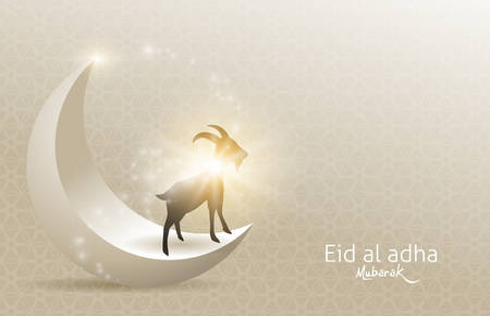 Eid Al Adha Mubarak the celebration of Muslim community festival background design with goat and moon.Vector Illustration Ilustração