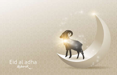 Eid Al Adha Mubarak the celebration of Muslim community festival background design with sheep and moon.Vector Illustration
