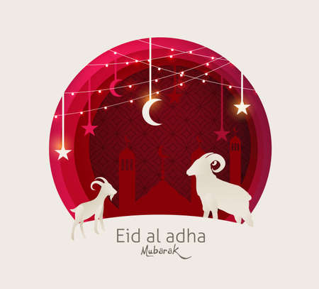 Eid Al Adha Mubarak the celebration of Muslim community festival background design with sheep and goat paper cut style.Glowing lights Vector Illustration Stockfoto - 106067348