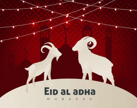 Eid Al Adha Mubarak the celebration of Muslim community festival background design with sheep and goat paper cut style.Glowing lights Vector Illustration Stockfoto - 106067352