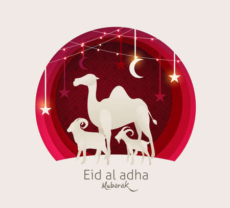 古尔邦穆巴拉克庆祝穆斯林社区节日的背景设计以骆驼、绵羊和山羊为剪纸风格。发光的灯光矢量插图