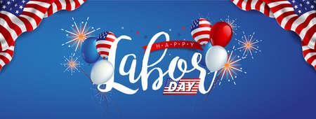 Decoración de la plantilla de la bandera de la publicidad de la promoción de la venta del día del trabajo con los globos de la bandera americana y la decoración colorida de los fuegos artificiales.