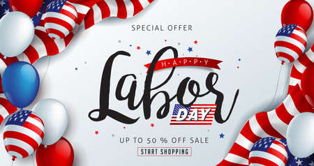 Labor day sale promotion advertising banner template decor with American flag balloons decor .American labor day wallpaper.voucher discount.Vector illustration . Illustration