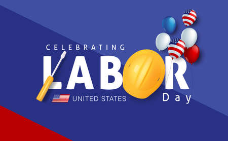 Labor day sale promotion advertising banner template decor with American flag balloons decor .American labor day wallpaper.voucher discount.Vector illustration .  イラスト・ベクター素材