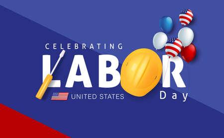 Decoración de la plantilla de la bandera de la publicidad de la promoción de la venta del día del trabajo con la decoración de los globos de la bandera americana.