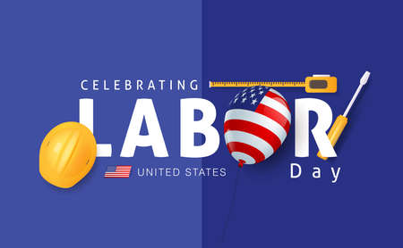 Labor day sale promotion advertising banner template decor with American flag balloons decor .American labor day wallpaper.voucher discount.Vector illustration .