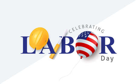 Labor day sale promotion advertising banner template decor with American flag balloons decor .American labor day wallpaper.voucher discount.Vector illustration . 向量圖像