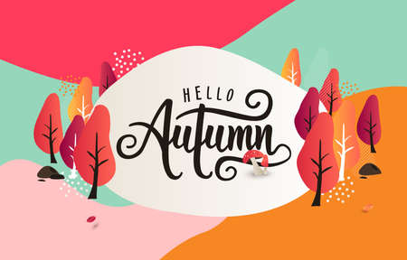 Autumn calligraphy background layout decorate with leaves for shopping or promo poster and frame leaflet or web banner.Vector illustration template.