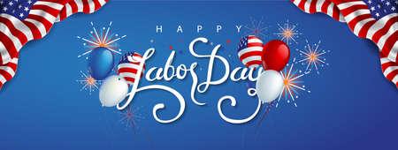 Decoración de la plantilla de la bandera de la publicidad de la promoción de la venta del día del trabajo con los globos de la bandera americana y decoración colorida de los fuegos artificiales.