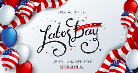 Labor day sale promotion advertising banner template decor with American flag balloons decor .American labor day wallpaper.voucher discount.Vector illustration . Çizim