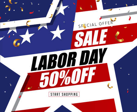 Labor day sale promotion advertising banner template decor with star shape American flag.Vector illustration .
