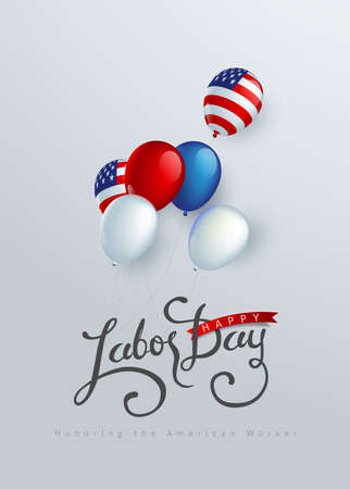 Happy labor day background banner template decor with balloon flag of america .Vector illustration .