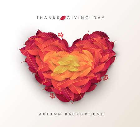 Fondo de forma de corazón de hojas de otoño ilustración de vector de día de acción de gracias.