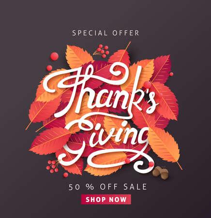 calligraphy of Thanksgiving day banner. Autumn Seasonal lettering.vector illustration