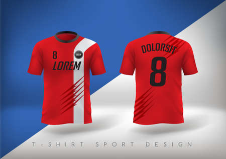 Soccer t-shirt design slim-fitting with round neck. Vector illustration Ilustração