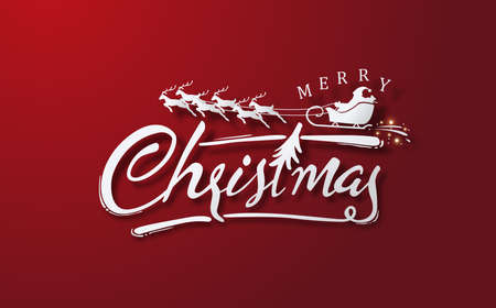 Buon Natale calligrafico lettering sfondo rosso .Modello di illustrazione vettoriale.
