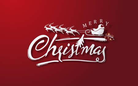 Kalligraphische frohe Weihnachten beschriftet roten Hintergrund. Vektorillustrationsschablone.