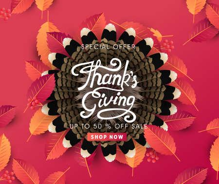 calligraphy of Thanksgiving day sale banner. Seasonal lettering.vector illustration Stockfoto - 110005904